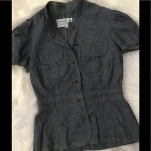 Trina Turk denim blouse size 8 button up